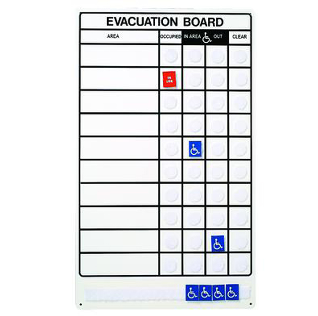 Emergency Evacuation Board 10 Areas Fire Med Solutions